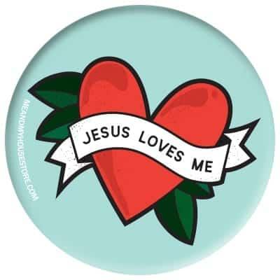 Ljusblå knapp: Jesus loves me