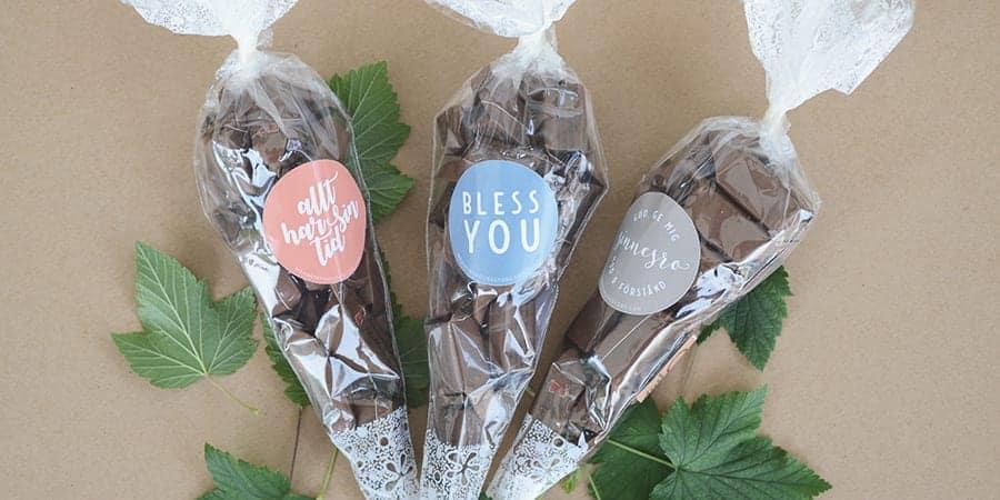 Chokladkola med uppmuntrande text