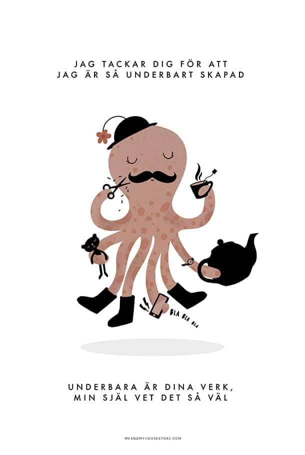 Poster med bläckfisk: Jag tackar Dig