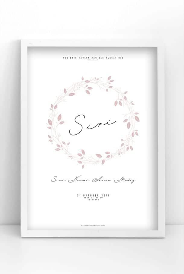 Namnposter med rosa blomkrans