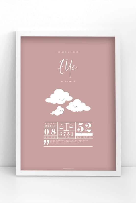 Rosa namnposter med moln