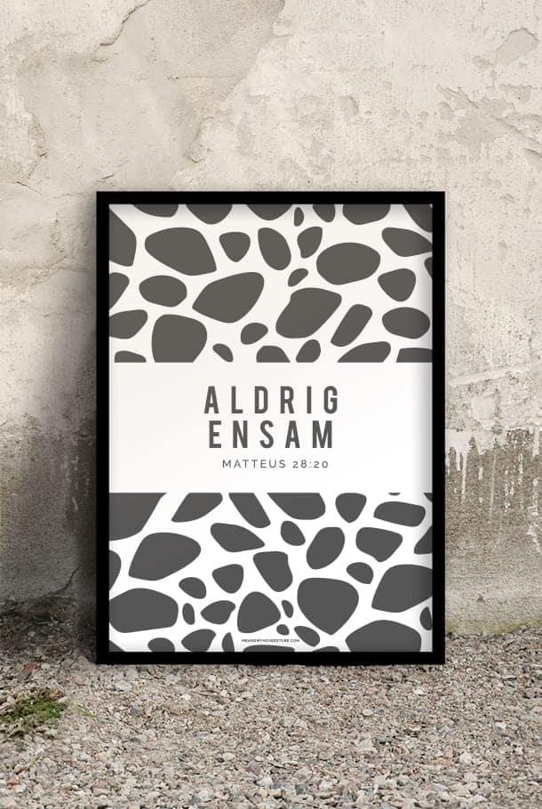 50x70-poster med giraffmönstrat tryck i grått: Aldrig ensam