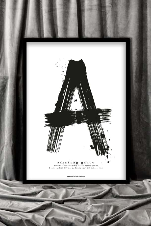 50x70-poster med stort A: Amazing grace