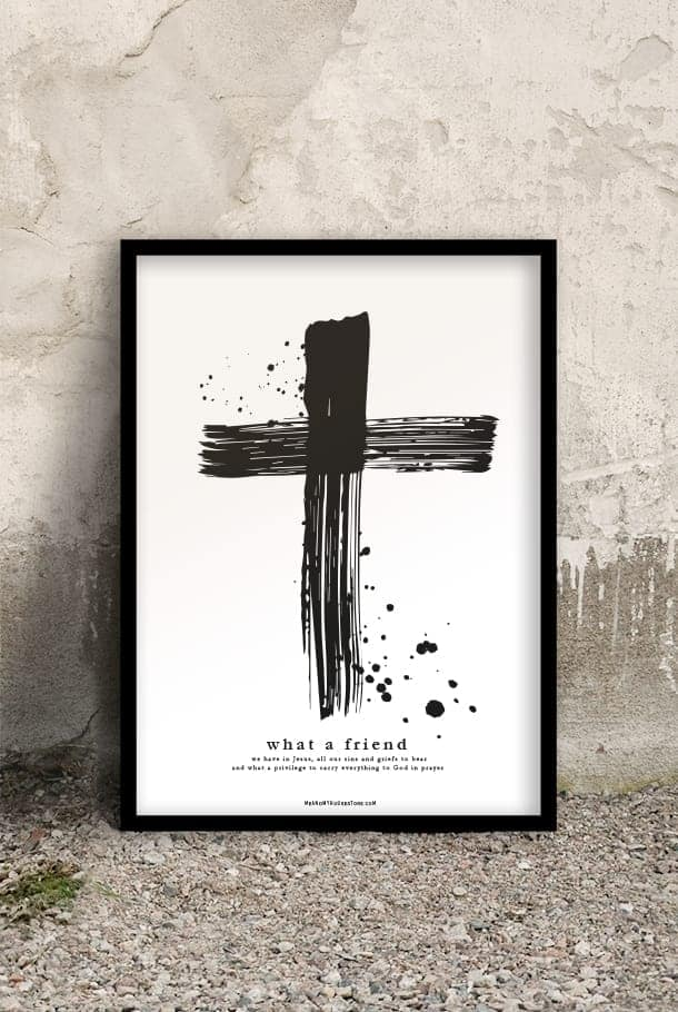 50x70-poster med kors: What a friend we have in Jesus