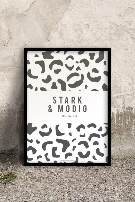 50x70-poster med leopardmönstrat tryck i grått: Stark och modig