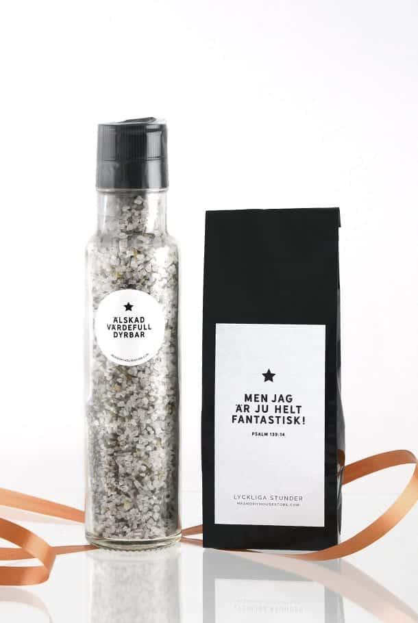 Presentset: Saltkvarn med vinbärssmak och Lyckliga stunder-te
