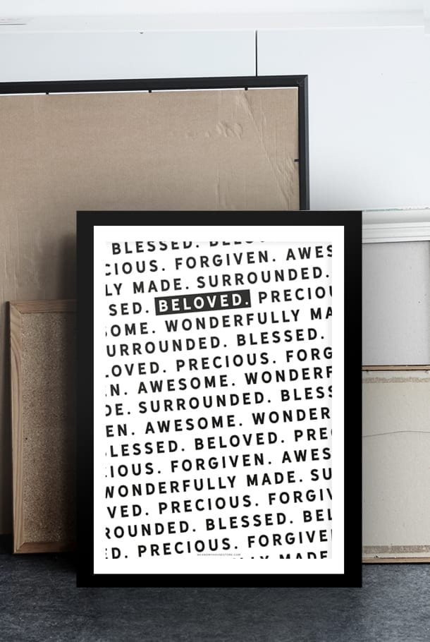 Poster: Beloved, precious, forgiven, surrounded