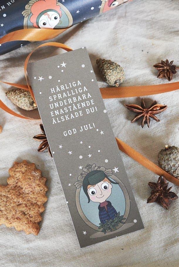 Avlånga julkort i 4-pack: Härliga, spralliga, underbara, enastående älskade du!