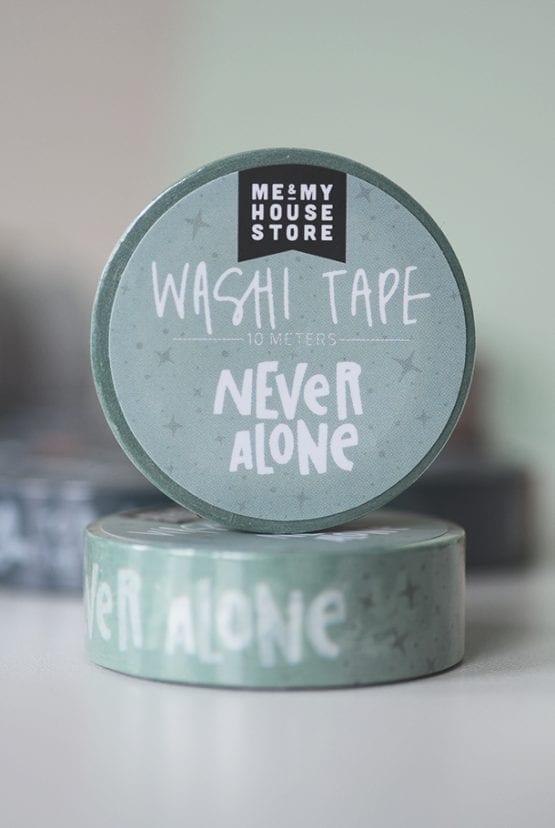 Mintfärgad washitape: Never alone