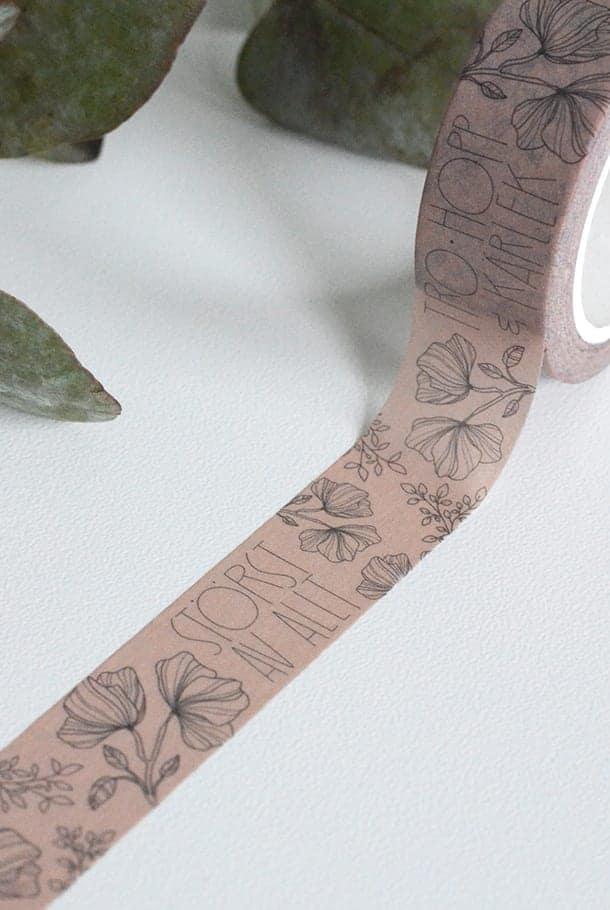Matt rosa washitape med blommor: Tro, hopp, kärlek