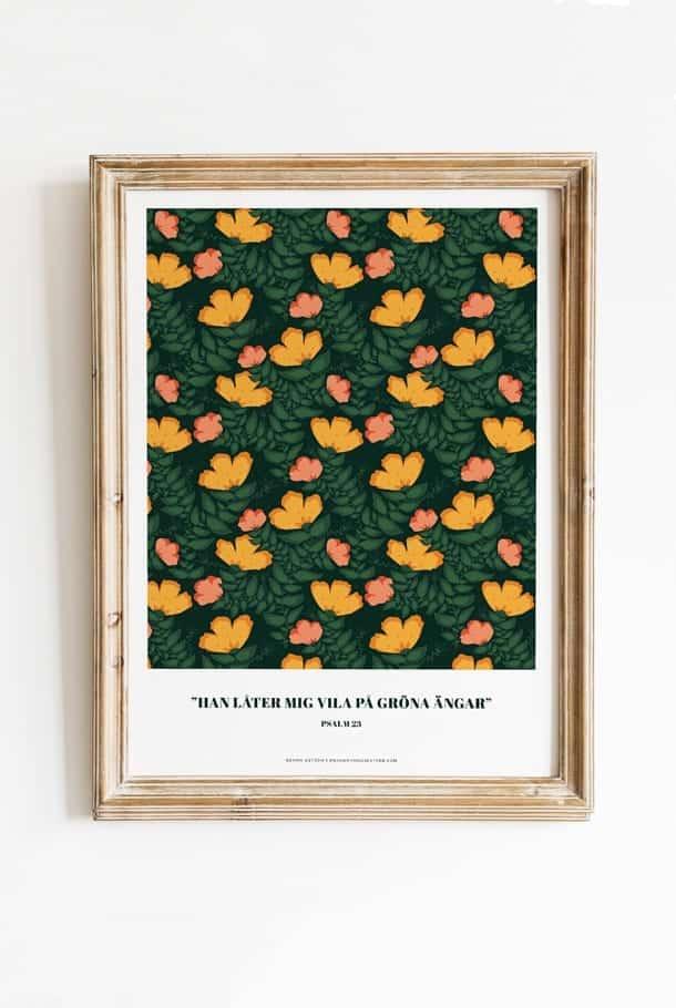 Poster av Sophie Åström i grönt småblommigt: Han låter mig vila på gröna ängar
