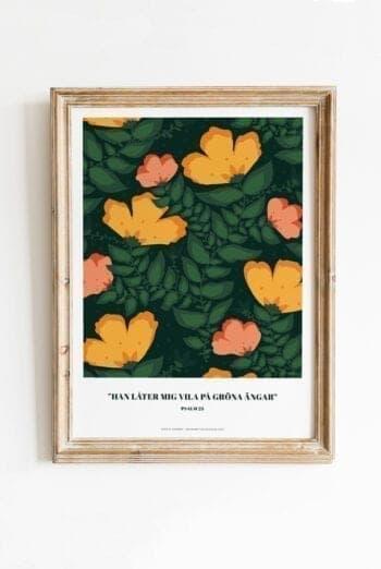 Poster av Sophie Åström i grönt storblommigt: Han låter mig vila på gröna ängar