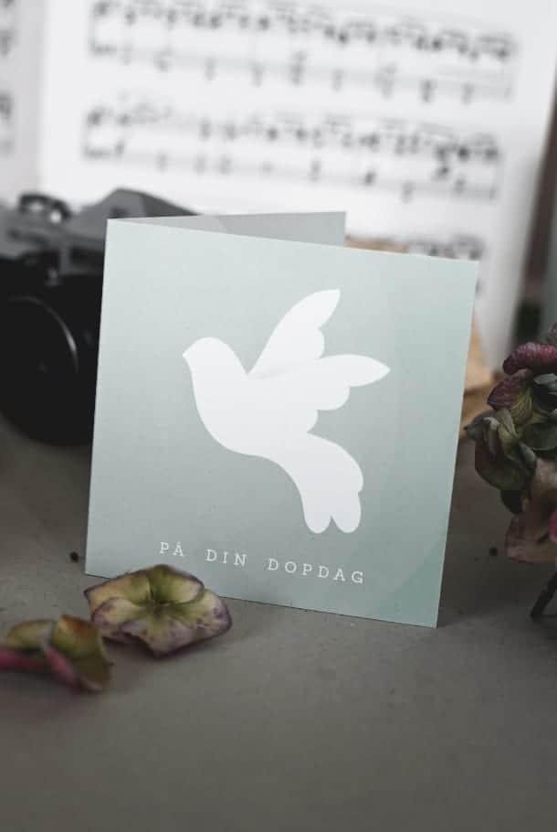 Dubbelt litet kort med kuvert: På din dopdag