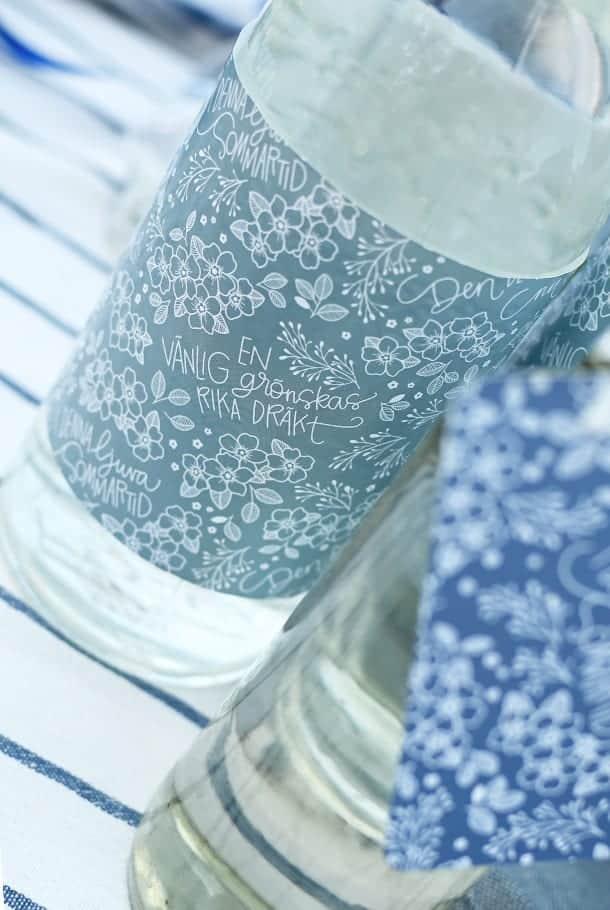 Blått presentpapper: Den blomstertid nu kommer