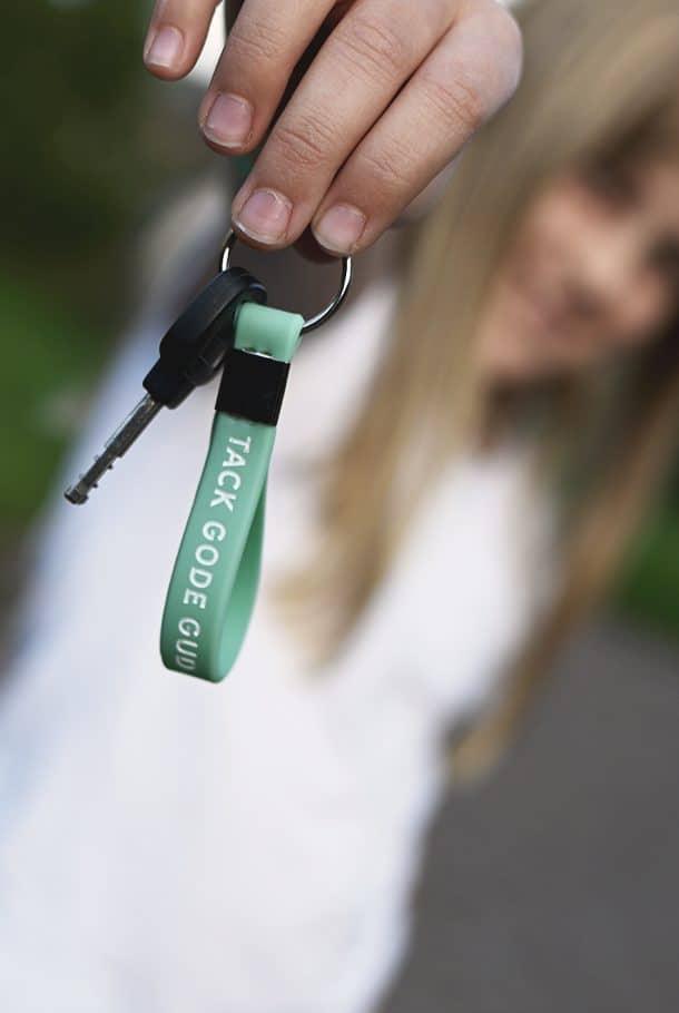 Nyckelringsband i mintfärg: Tack gode Gud för mig!