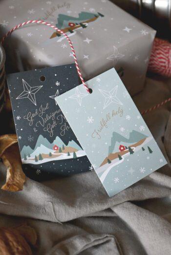 10-pack! Juletikett: Fridfull jul och God jul och välsignat gott nytt år!